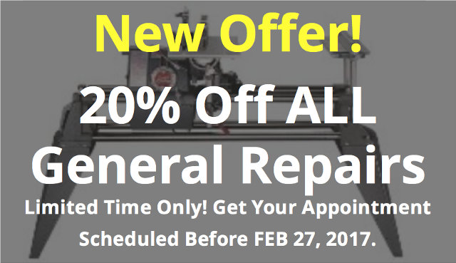 New Offer! 20% Off ALL General Repairs