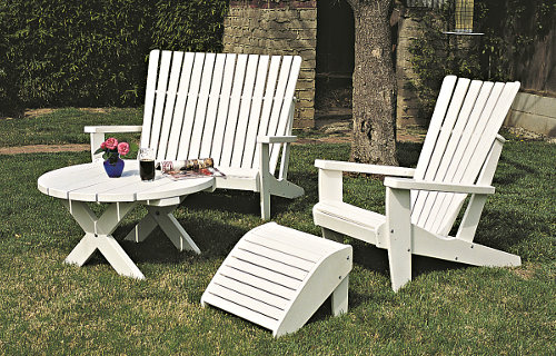 Traditional Adirondack Chair, Loveseat, Footrest and Table