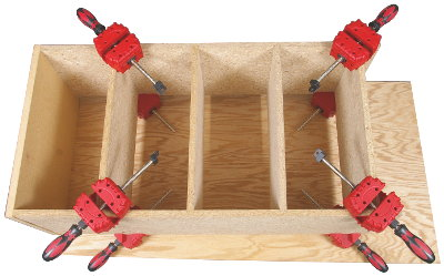 Clamping Shelves in Bookcases, etc. (using a total of 8 clamps in this example)