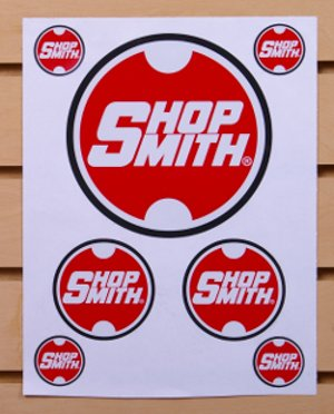 Sheet of 7 Die-Cut, Laminate Covered, Pressure-Sensitive, Adhesive-Backed Shopsmith Logo Stickers