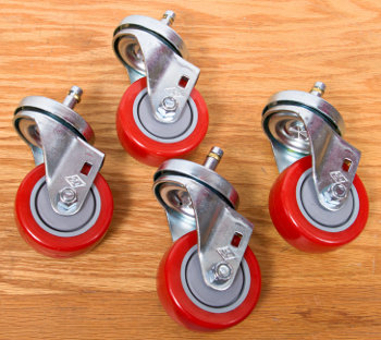 "Big 3"" Diameter by 1-1/4"" Wide Casters with Polyurethane Tires, Rugged 3/8"" Steel Axels and Sealed Ball Bearings"