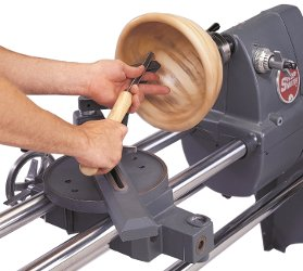 Shopsmith Universal Tool Rest Provides Up Close Support Deep Inside the Deepest Bowls