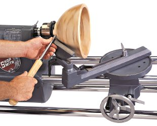 Shopsmith Universal Tool Rest Reaches Around the Back side of Faceplate Turnings With Ease