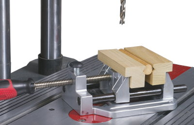 Use these enclosed V-jaws to perform the same operation as shown prior... except with a firmer, non-slip grip on your workpiece... while holding your stock parallel to the worktable surface