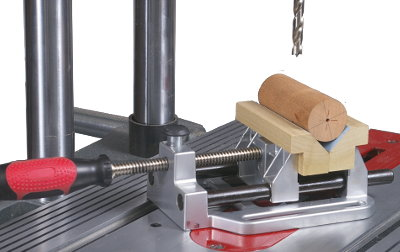 Use these open-top V-jaws to bore a row of  in-line holes down the length of a dowel... or any 90° edge of a square workpiece... while holding your stock parallel to your worktable surface